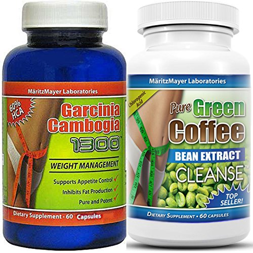 Garcinia Cambogia Extract 1000Mg. & Pure Green Coffee Bean Extract Cleanse 800Mg
