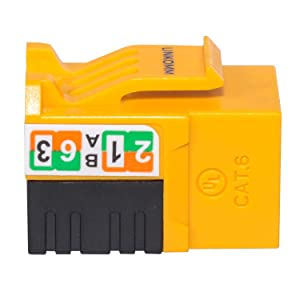 LINKOMM 10-Pack RJ45 Cat6 Slim Profile UTP Unshielded Keystone Jack (Yellow) (Color: Yellow, Tamaño: 10 Pack)