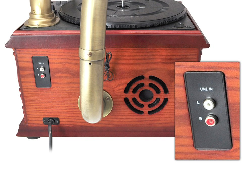 Pyle-Home PTCDS3UIP Classical Trumpet Horn Turntable with AM/FM Radio CD/Cassette/USB & Direct to USB Recording 4