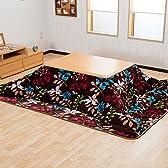 【ふわふわ素材 温かこたつ3点セット】(掛・敷・こたつ) 105cmテーブル(ナチュラル色) 保温性が良いフランネルこたつ布団(ブラウン色)