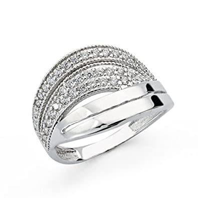 18k white gold cubic zirconia ring [AA0405]