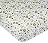 Carters Easy Fit Printed Crib Fitted Sheet, Ecru/Brown Circles