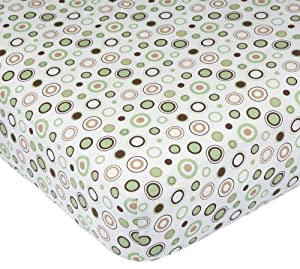 Carter's Easy Fit Printed Crib Fitted Sheet, Ecru/Brown Circles (Discontinued by Manufacturer)