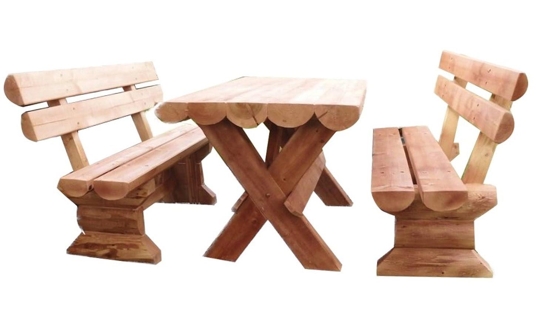3tlg. massive Holz Sitzgruppe Gartenmöbel Garten Garnitur rustikal 100% handgefertigt UNIKAT