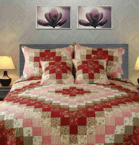 Tache 5 Piece 100% Cotton Sweetheart Diamond Patchwork Quilt Set, King