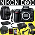 Nikon D600 24.3 MP CMOS FX-Format Digital SLR Camera (Body Only) + Nikon 50mm f/1.8D AF Nikkor Lens + EN-EL15 Replacement Lithium Ion Battery� + External Rapid Charger + 8GB SDHC Class 10 Memory Card + 52mm UV Filter + Mini HDMI Cable + Carrying Case + Multi Card USB Reader + Memory Card Wallet + Deluxe Starter Kit