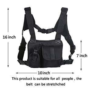 Saigain Universal Hands Free Chest Pocket Harness Bag Holster Holder Vest Rig for Two Way Radio ( Rescue Essentials) (Color: Black)