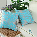 CaliTime Throw Pillow Covers 18 X 18 Inches, Flocking Cute Leaves, Grey Turquoise, Pack of 2