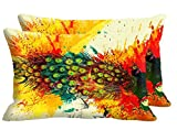 meSleep Peacock Feathers Set of 2 Pc Cushion Cover -Size(12x18)