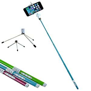SunSmart 5 in 1 Multifunction High Tech Ecofriendly Carbon Fiber Bluetooth Remote Shutter Control Extendable Selfportrait Photo Selfie Handheld Stick Monopod with Adjustable Phone Holder Stand for iPhone 5/5s Samsung Blackberry Camera (Blue)Customer review and more information