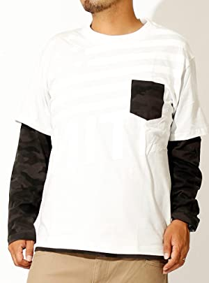 長袖Tシャツ メンズ 大きいサイズ フェイクレイヤード プリント クルーネック カットソー