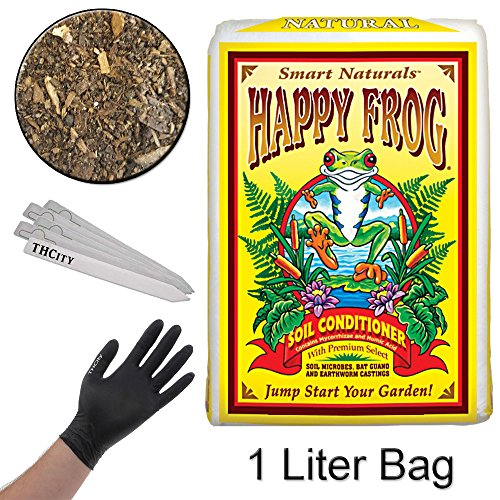 FOXFARM HAPPY FROG SOIL CONDITIONER + THCiTY GLOVES & STAKES - 1 LITER BAG