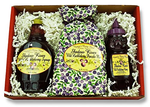 Shadow River Wild Huckleberry Gourmet Boxed Gift Set - Syrup, Honey, Pancake Mix