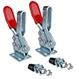 E-TING 2PCS 500lbs Holding Capacity Toggle Clamps Horizontal Quick-Release Handle Toggle Clamp 225D (Color: Red)