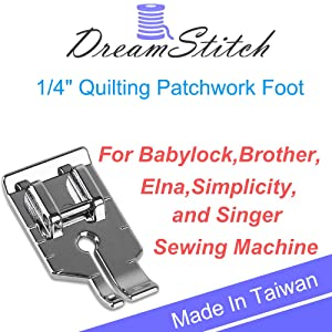 DREAMSTITCH SA125 1/4 inch Snap On Quilting Patchwork Presser Piecing Foot for Babylock,Brother,Elna,Simplicity,Singer Sewing Machine ALT : XA3805021,076838, 492110-20, BL37-QF, BL66-QF, ESG-QF - 7322