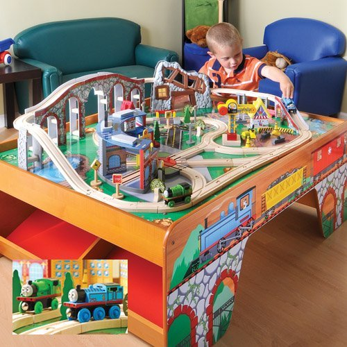 CP Toys Wooden Train Table with 100 pc. Track and Accessories Set