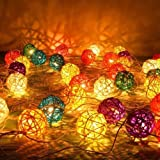 3 M Colorful Rattan Ball Fairy Lights Ideal Wedding, Christmas & Party String Lights Color: Multi Color Model: