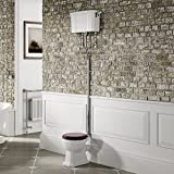 Traditional High Level Close Coupled Toilet Victorian Cistern Pan & Mahogany Seat