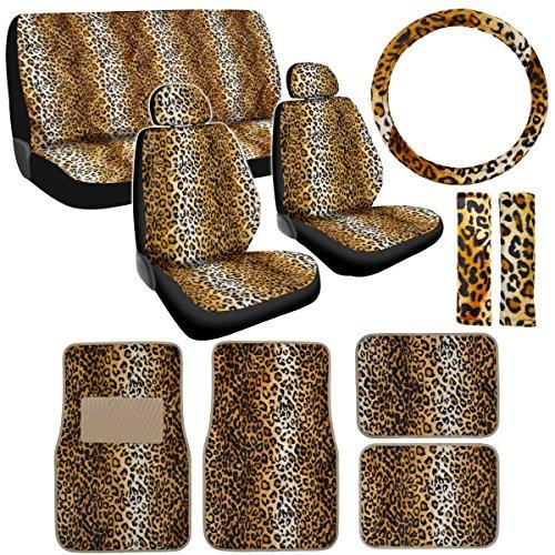 New 15P Leopard Auto Car Seat Cover & Floor Mat Set