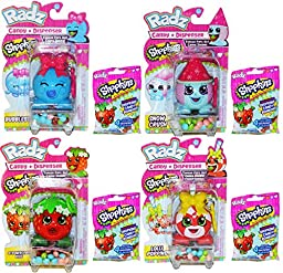 Radz Shopkins Candy and Dispenser Pack of 4 with 4 Shopkins Candy Refills