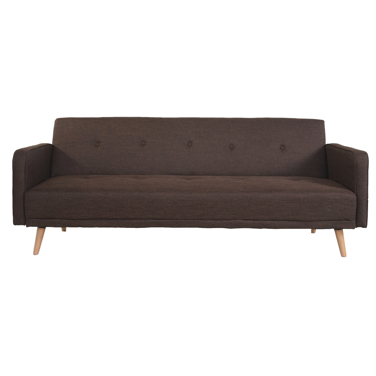 Joveco Fabric Button Tufted Sofa Bed with Wood Legs