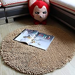 Chenille Bath Rug Brown Round Area Rug Non-Slip Absorbent Floor Mat Swivel Chair/Bedroom/Home Floor Carpet Super Cozy Fluffy Rug (2\'6x2\'6, Brown)