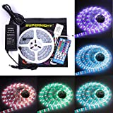 SUPERNIGHT 5M RGBW Flexible LED Strip 5050 60LEDs/M Silicone Tube IP67 Waterproof RGB +Pure White Alternating LED Strip Light -40keys RGBW Controller- DC 12V Power Adapter- Complete RGBW Strip Kit