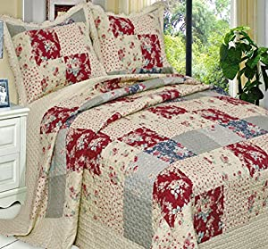 French Country Floral Patchwork Quilt Coverlet Bedding Set Twin/Twin