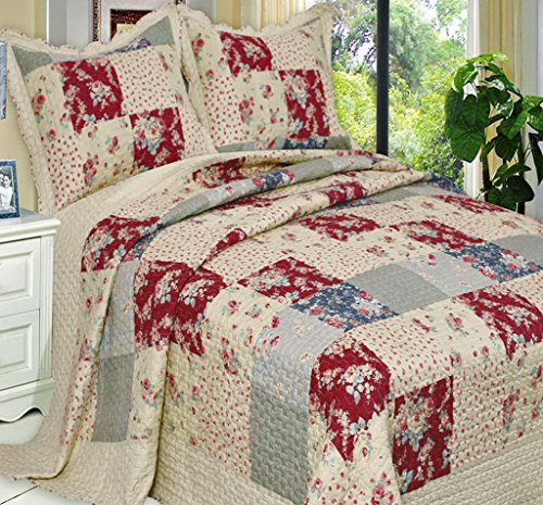 French Country Patchwork Lightweight Oversized Quilt Coverlet Set Full/Queen front-811051