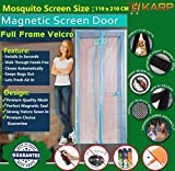 KARP Premium Quality Magnetic Screen Door Full Frame Velcro - Keep Bugs Out Lets Fresh Air In. No More Mosquitos or Flying Insects - Children and Pet Friendly, Instant Bug Mesh with Top-to-Bottom Seal, Snaps Shut Like Magic for a Hands-Free Bug-Proof Curtain - (3 Foot Length X 7 Foot Height) (Pink Color), Package weight - 635 Gram