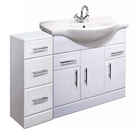 1050mm White Gloss Bathroom Furniture Set - 750mm Vanity Cabinet Unit & 300mm 3 x Cupboard Drawer Unit