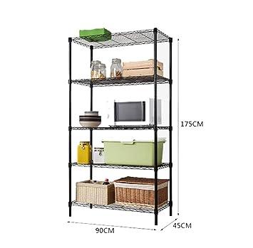 Haushaltsgegenstände Metall Regal Multifunktions Kuche / Wohnzimmer / Lager Haushalt Lagerregale 5 Stufen Lagerung Rack, schwarz, L90 * W45 * H175cm -CRS-ZBBZ