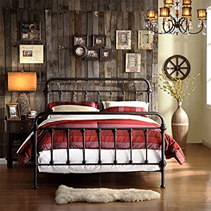 Twin Full Queen King Antique Iron Metal Bed Frame Vintage Bedroom Sized Furniture Rustic Wrought Country Black Bronze Finish Cast Womens Mens Girls Kids Princess Headboard Footboard Rails Slats Set (Queen)