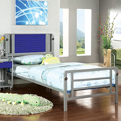 Furniture Of America Spencer Bolt Design Metal Bed -, Silver, Metal, Twin front-521780