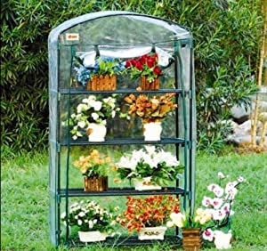 "Green Garden 4 Tier Mini Hot House W Shelves 35""W×19""D×62""H Greenhouse Gh006"