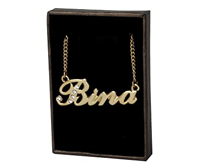 Amazon.com: Indian Name Necklaces Bina - Personalized Necklace ...