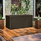 Suncast BMDB134004 Wicker Resin Deck Box, 134 gallon