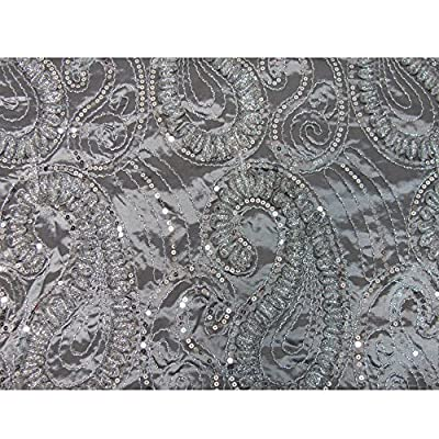 Silver Gray Beaded Embroidered Paisley Silk Taffeta Decorative Fabric by Yard