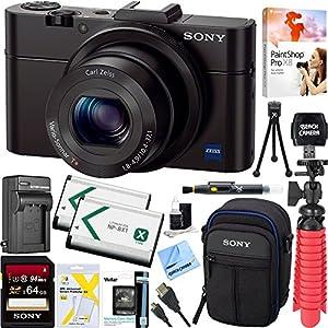 Sony Cyber-shot DSC-RX100 II 20.2 MP Digital Camera - Black + 64GB SDXC Memory Dual Battery Kit + Accessory Bundle