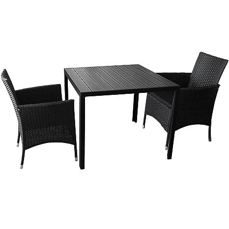 3er Sitzgarnitur Gartentisch mit Polywood Tischplatte 90x90cm 2x Rattansessel mit Polyrattanbespannung inkl. Sitzkissen Gartengarnitur