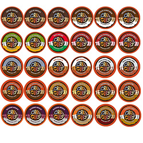 30-count Crazy Cups Flavored Coffee Single Serve Cups for Keurig K Cups Brewer Variety Pack Sampler (Crazy Flavored Coffee K Cups compare prices)