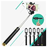 Heartly Luxury Extendable Folding Pocket Size Selfi Stick Monopod With Adjustable Phone Holder Wired Aux Cable For Mobiles & Cameras Black Stick Gold Buttom