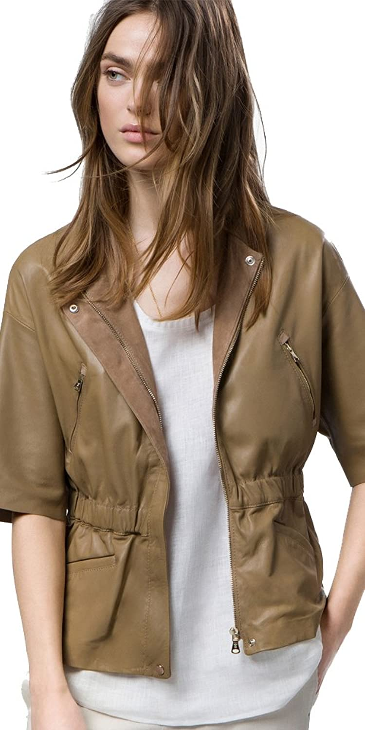 цена Massimo Dutti (Zara Group) Women´s Genuine Leather Beige Tailored Jacket 4715/996 онлайн в 2017 году