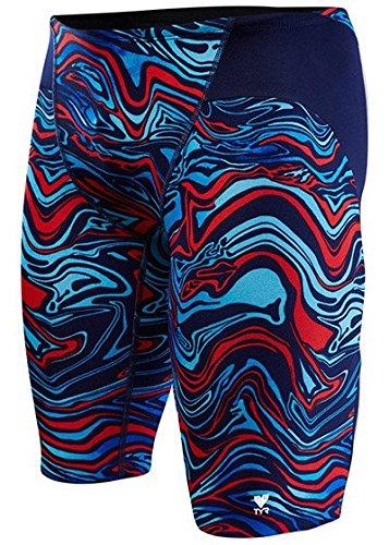 TYR-ondata Jammer, Costume da bagno da uomo, Blu Marino/Rosso, 76cm