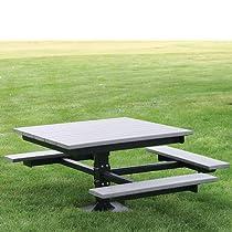 Hot Sale Jayhawk Plastics Outdoor T-Table - 5.4'Wx6.8'D - Ada-Compliant - Green