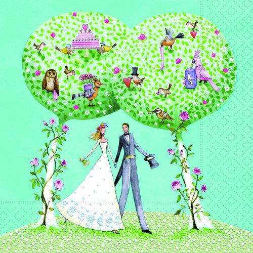 20 Servietten Most beautiful day - Der allerschönste Tage / für Hochzeit / Brautpaar / türkis 33x33cm