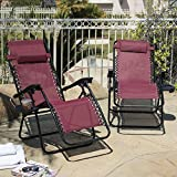 ARKSEN© 2-Pack Zero Gravity Chairs Patio Lounge +Cup Holder/Utility Tray (Burgundy)
