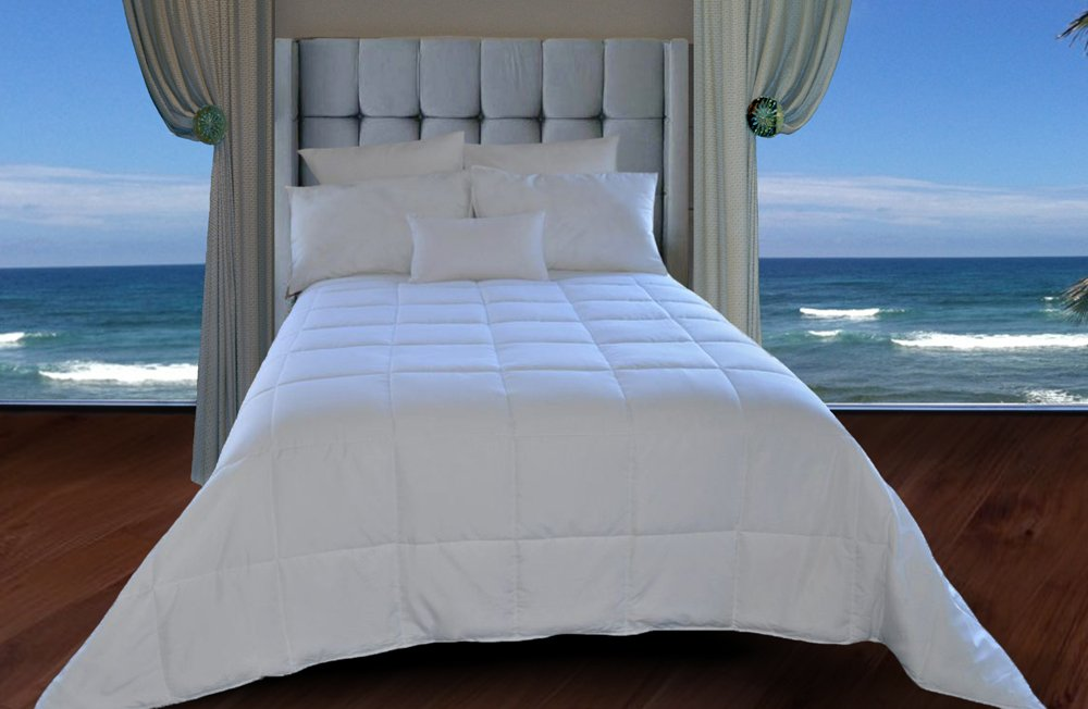 Natural Comfort White Down Alternative Comforter with Embossed Microfiber Cover, Light Weight Filled, 	$37.51