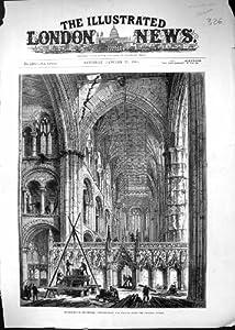 Una Stampa Antica delle Preparazioni 1883 della Cattedrale di Peterborough che Tirano Giù Torre