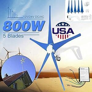 YiiYYaa 800W 5 Blades DC12/24V Horizontal Wind Turbine Generator Wind Turbines Energy Generator with Wind Charger Controller (Without Bracket) (12V) (Tamaño: 12V)